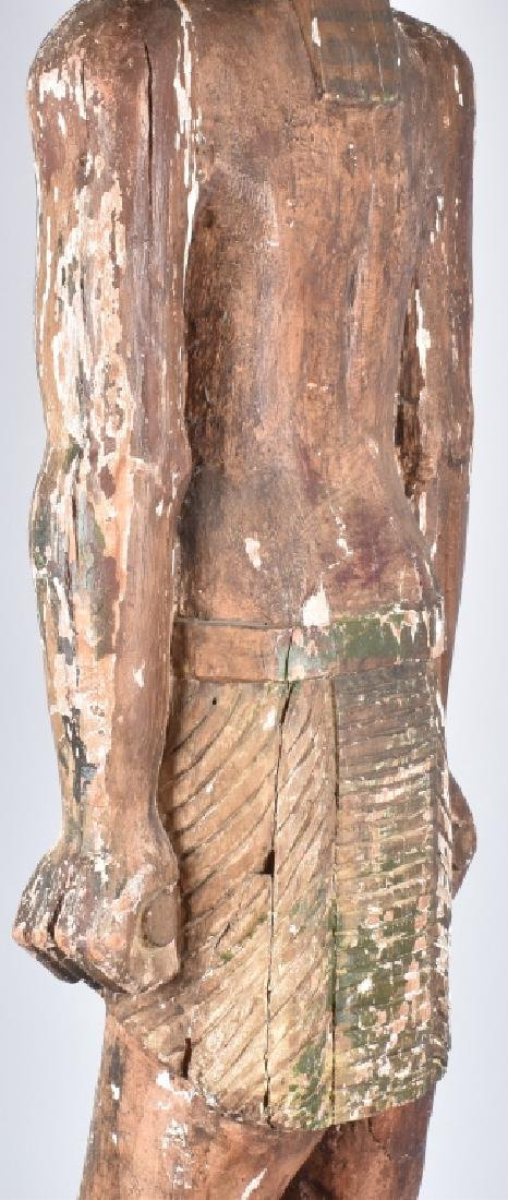 EGYPTIAN CARVED WOOD PLASTER COVERED SLAVE FIGURE - 12