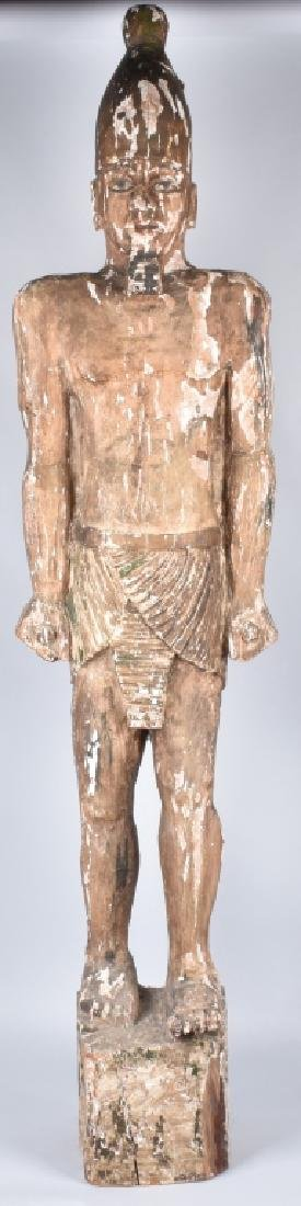 EGYPTIAN CARVED WOOD PLASTER COVERED SLAVE FIGURE