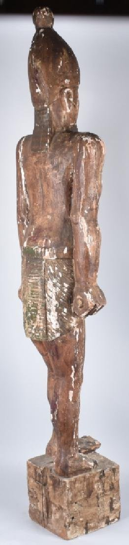 EGYPTIAN CARVED WOOD PLASTER COVERED SLAVE FIGURE - 2