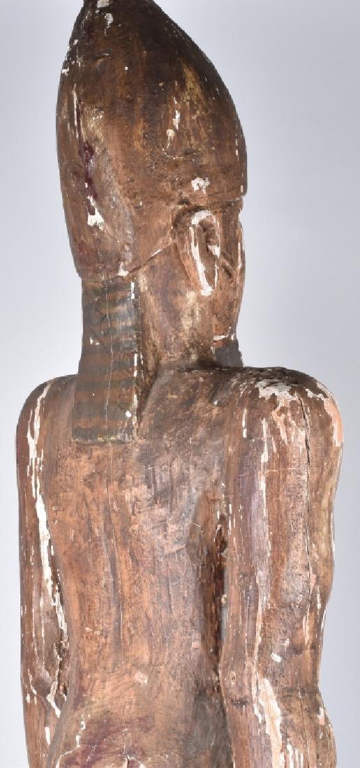 EGYPTIAN CARVED WOOD PLASTER COVERED SLAVE FIGURE - 3