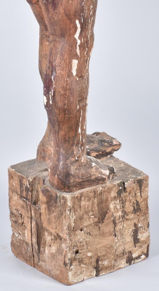 EGYPTIAN CARVED WOOD PLASTER COVERED SLAVE FIGURE - 5