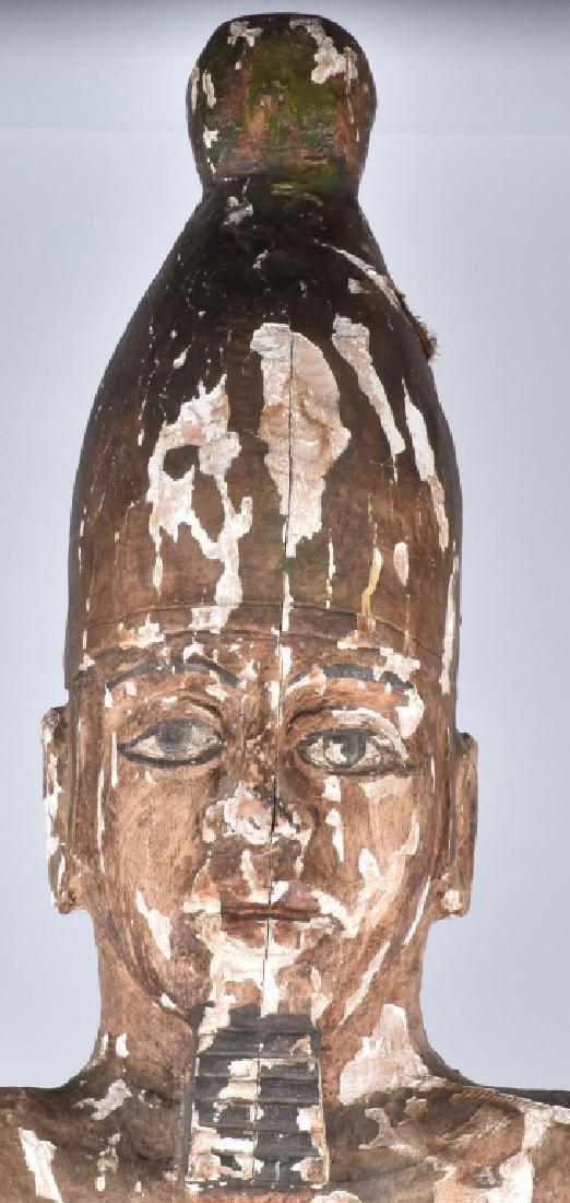 EGYPTIAN CARVED WOOD PLASTER COVERED SLAVE FIGURE - 6