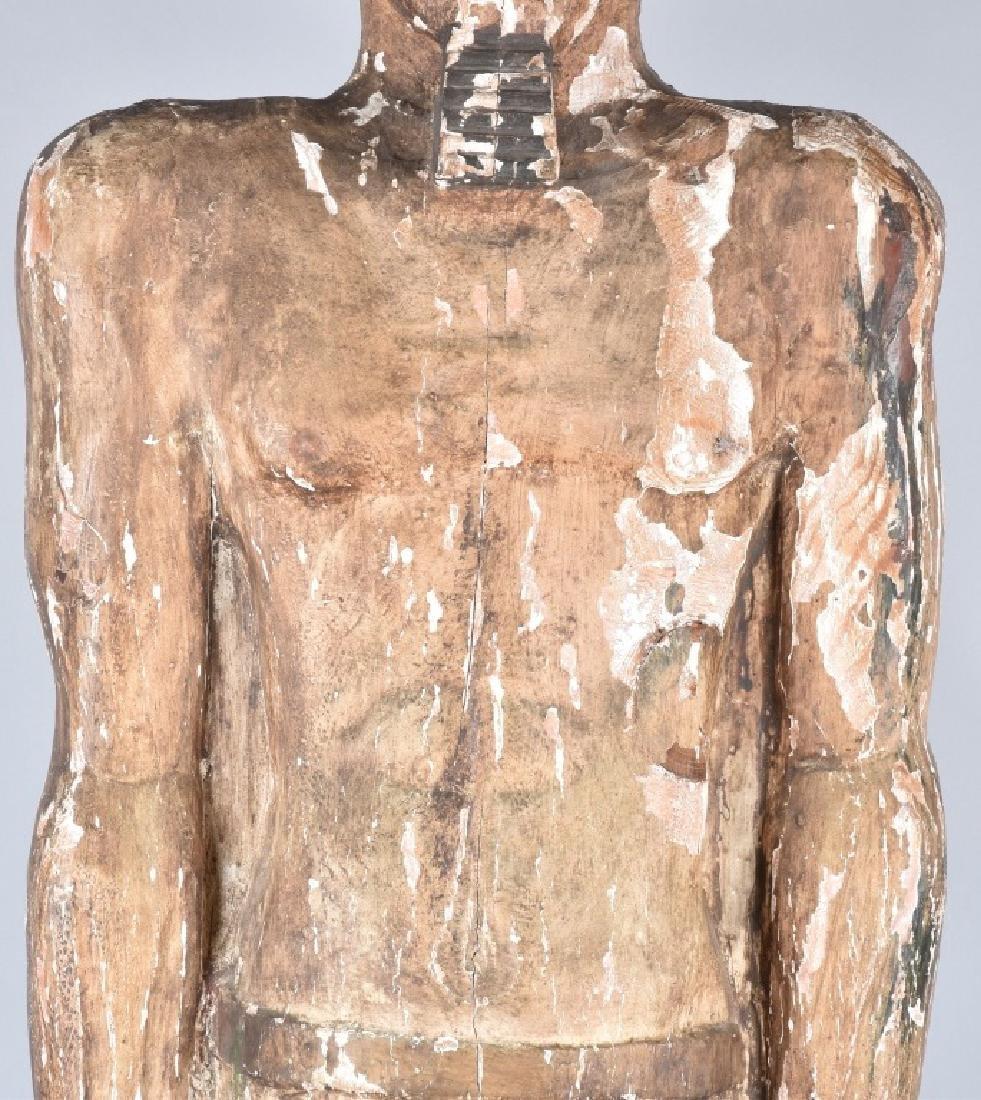 EGYPTIAN CARVED WOOD PLASTER COVERED SLAVE FIGURE - 7