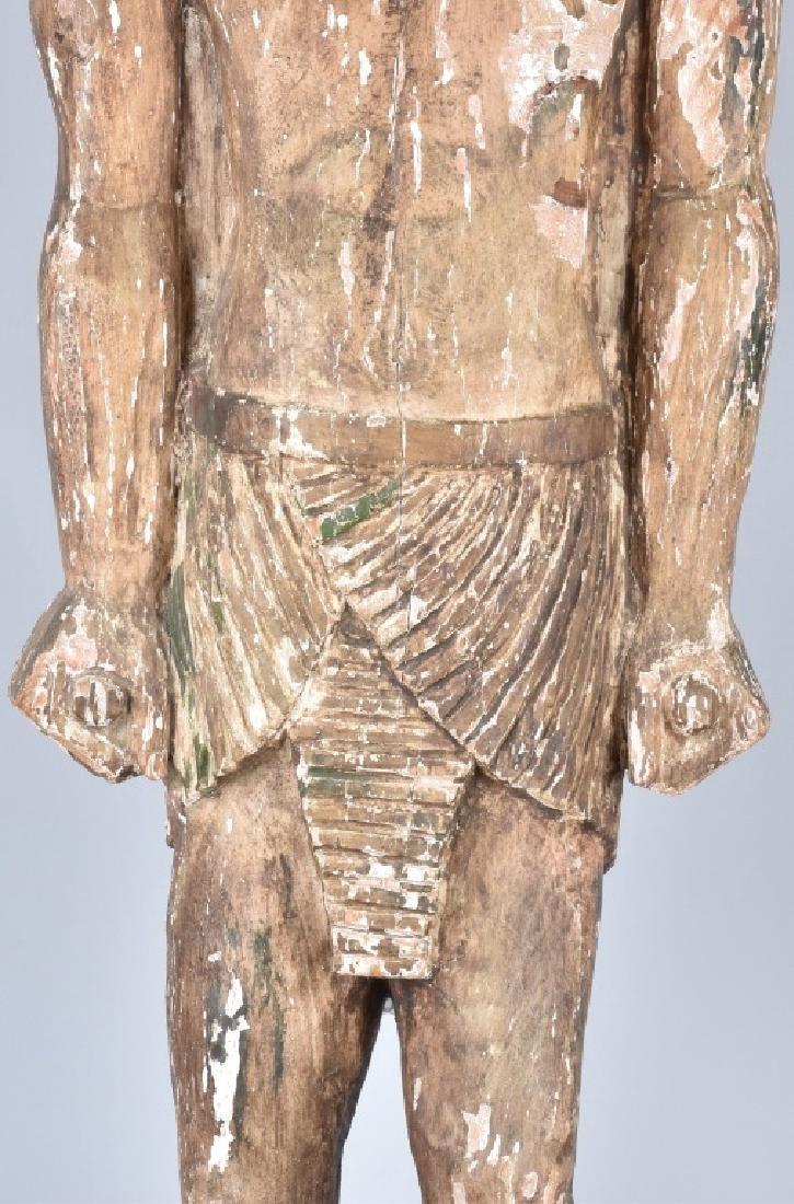 EGYPTIAN CARVED WOOD PLASTER COVERED SLAVE FIGURE - 8