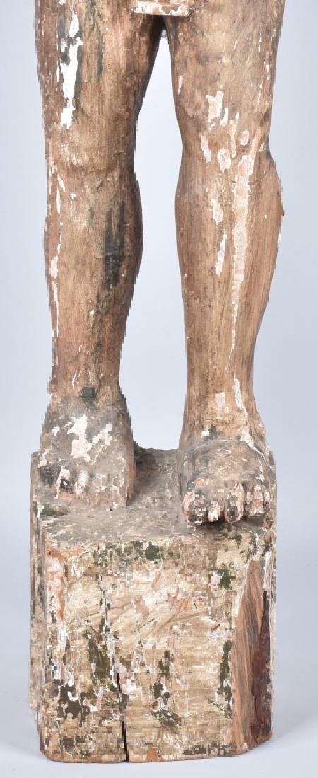 EGYPTIAN CARVED WOOD PLASTER COVERED SLAVE FIGURE - 9