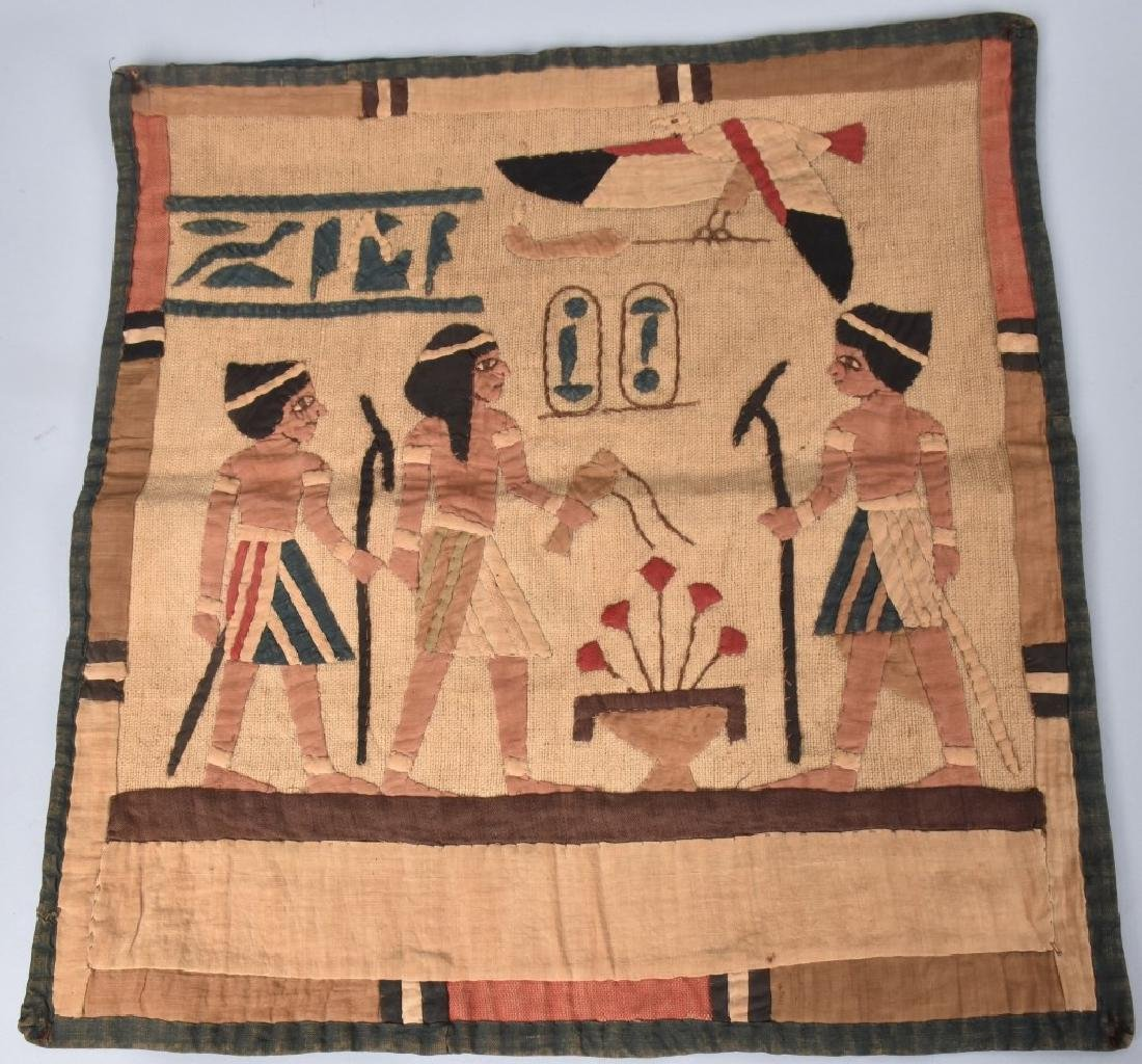 4- EARLY EGYPTIAN TAPESTRY w/ SCENES - 3