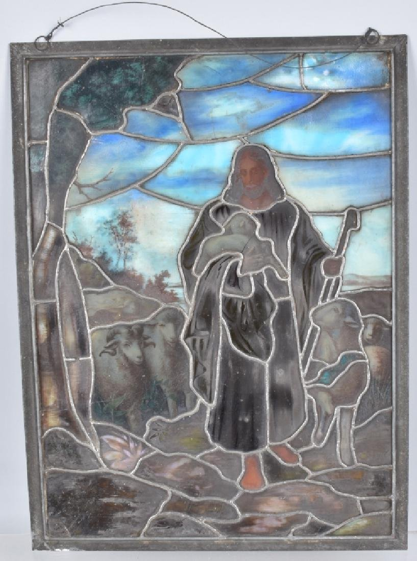 LEADED STAINED GLASS PANEL w/ JESUS & SHEEP