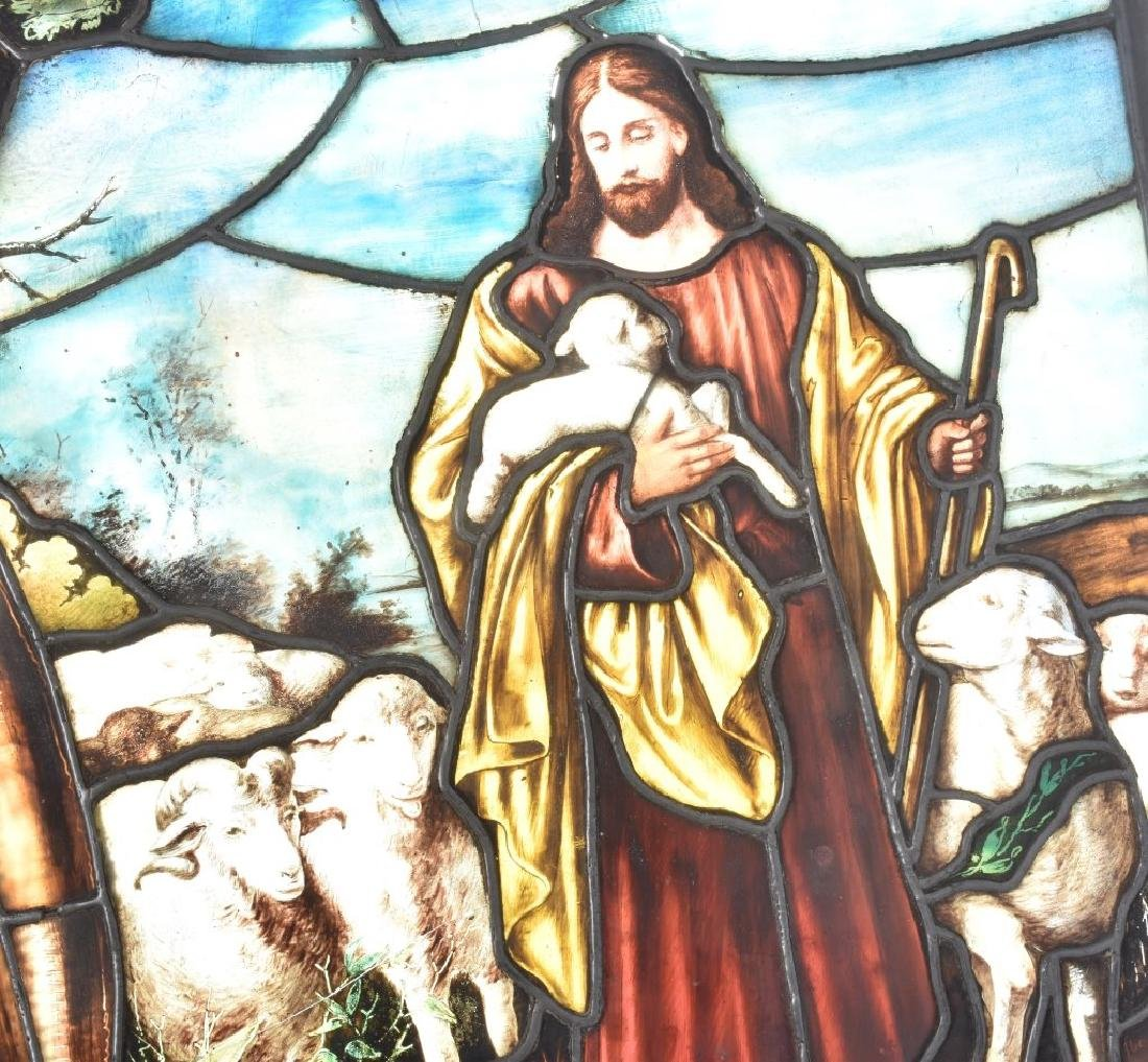 LEADED STAINED GLASS PANEL w/ JESUS & SHEEP - 2
