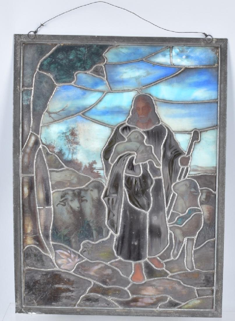 LEADED STAINED GLASS PANEL w/ JESUS & SHEEP - 3