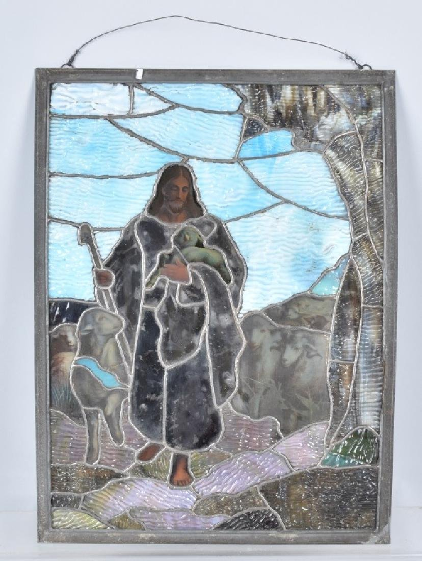 LEADED STAINED GLASS PANEL w/ JESUS & SHEEP - 4