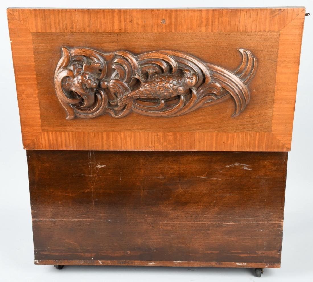 WOOD CHEST w/ CARVED EAGLE DESIGN - 5