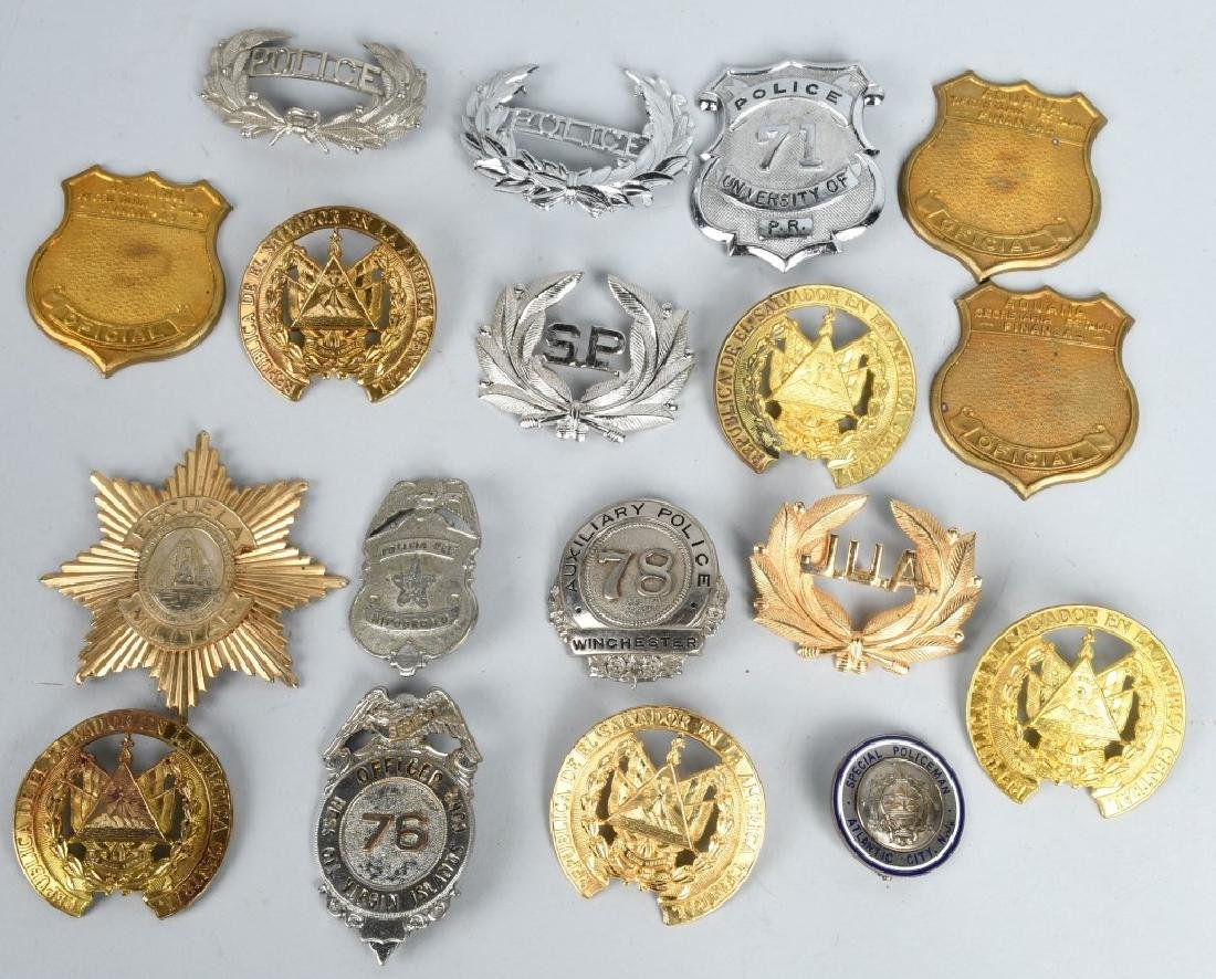 LOT OF VINTAGE POLICE BADGES & MORE