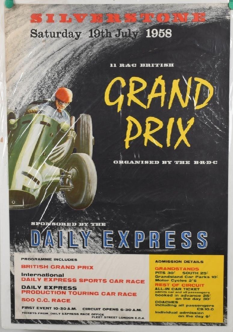 1958 SILVERSTONE GRAND PRIX CAR RACE POSTER