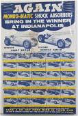 VINTAGE INDY 500 MONROMATIC ADVERTISING POSTER