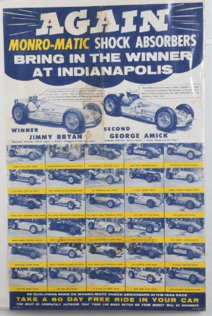 VINTAGE INDY 500 MONRO-MATIC ADVERTISING POSTER