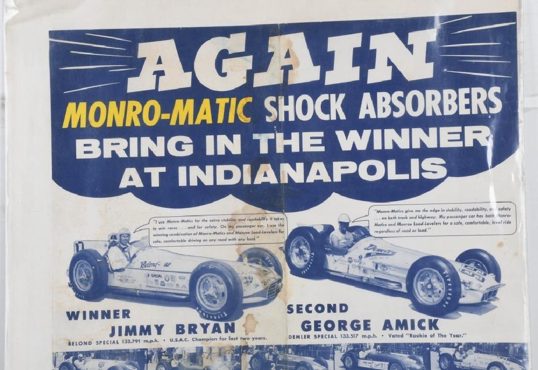 VINTAGE INDY 500 MONRO-MATIC ADVERTISING POSTER - 2