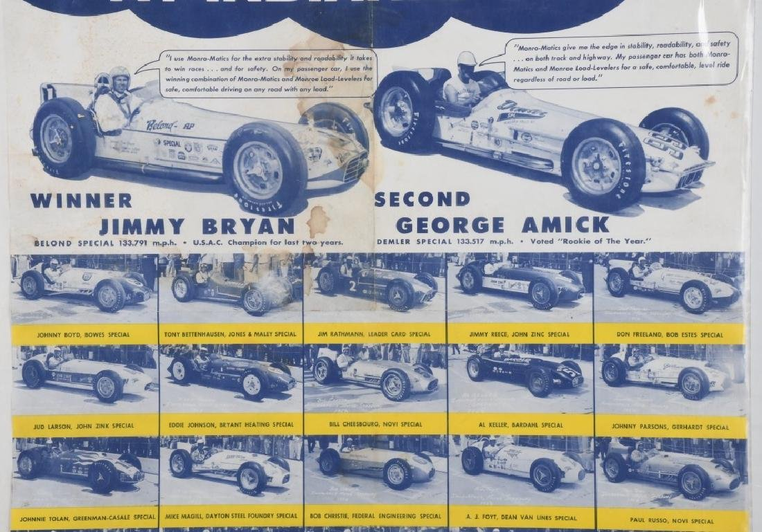 VINTAGE INDY 500 MONRO-MATIC ADVERTISING POSTER - 3