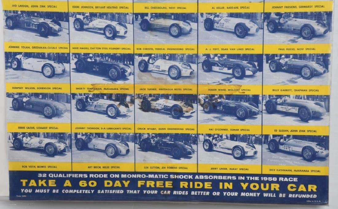 VINTAGE INDY 500 MONRO-MATIC ADVERTISING POSTER - 5