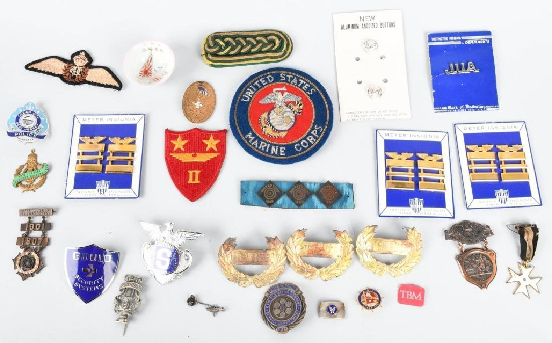 LOT OF MILITARY BADGES, PINS, PATCHES, & MORE