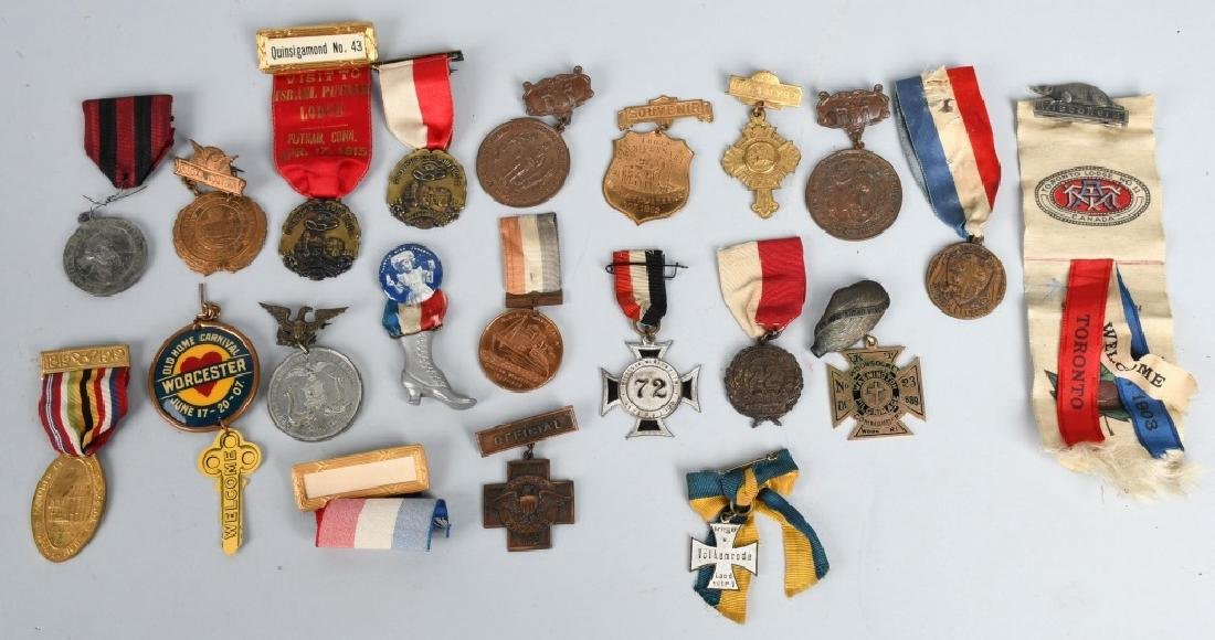 LOT OF MEDALS WITH RIBBONS
