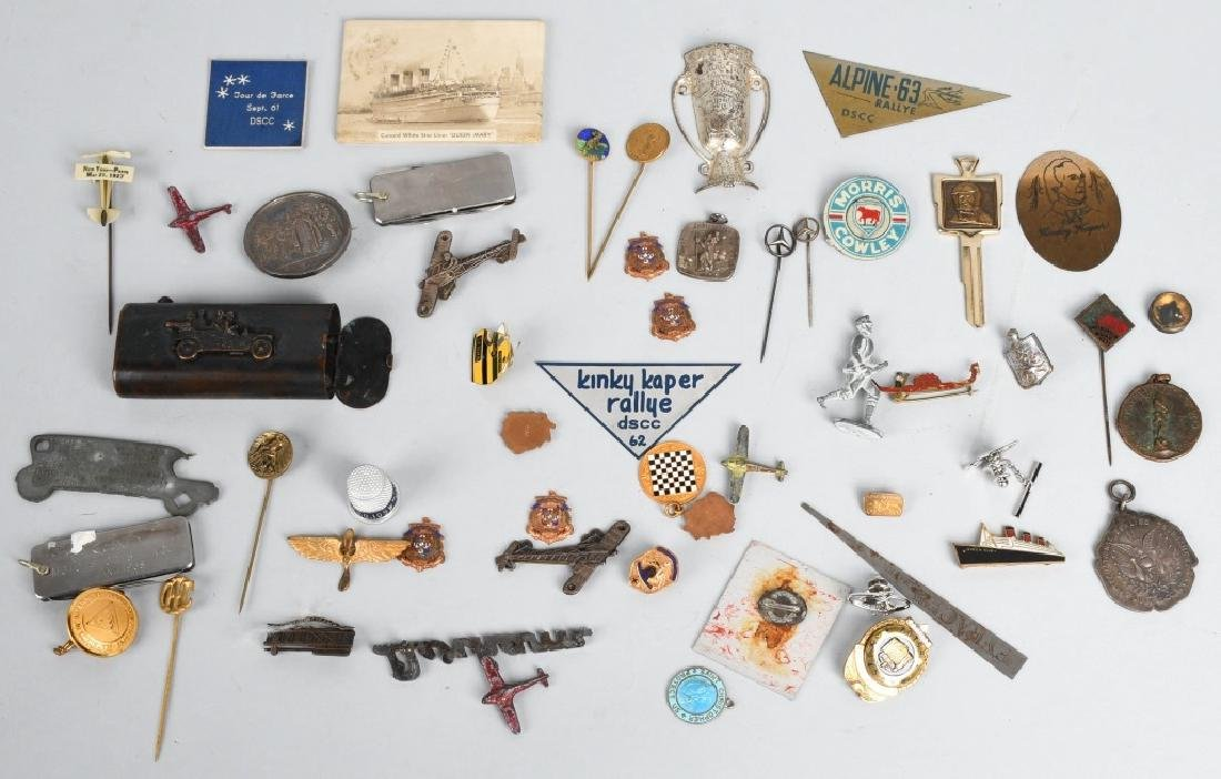 LOT OF VINTAGE PINS, CHARMS, STICK PINS, & MORE