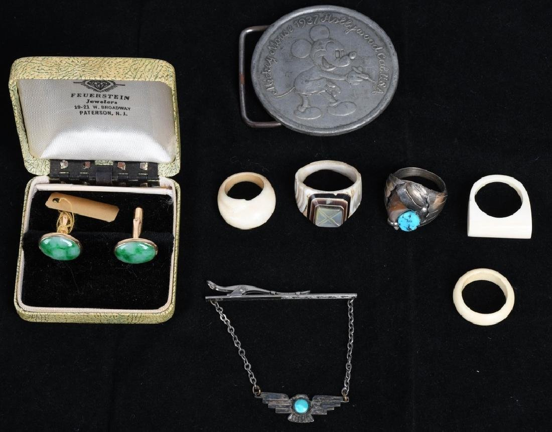 1937 MICKET MOUSE BELT BUCKLE, RINGS, & MORE