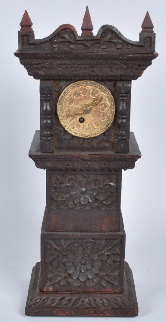 BLACK FOREST MINIATURE CARVED GRANDFATHER CLOCK