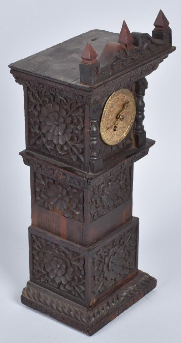 BLACK FOREST MINIATURE CARVED GRANDFATHER CLOCK - 5