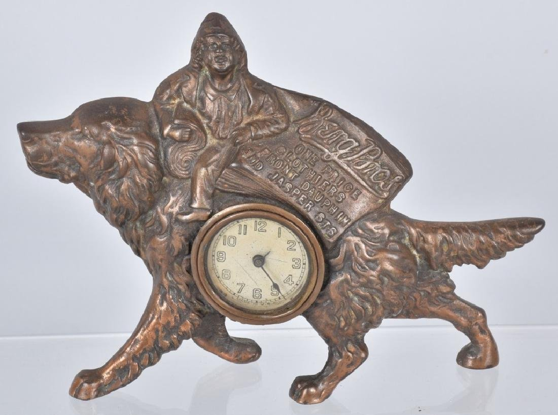 BERG BROS. ADVERTISING CAST IRON DOG CLOCK
