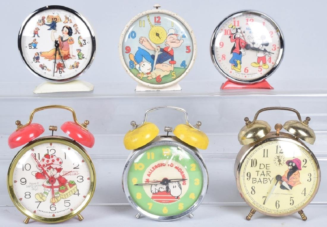 6-CHARACTER ALARM CLOCKS, POPEYE and MORE
