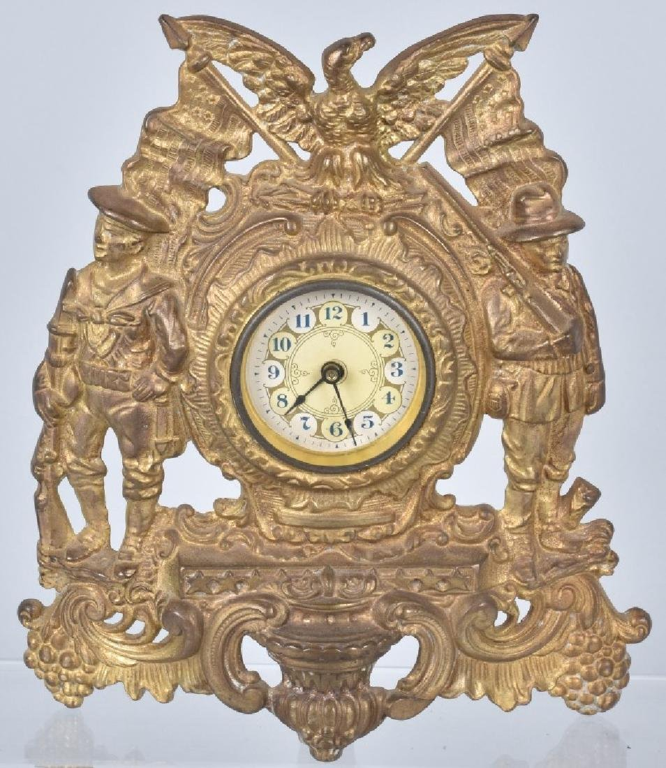 SOLDIERS & SAILORS CAST IRON CLOCK, 1898-1900