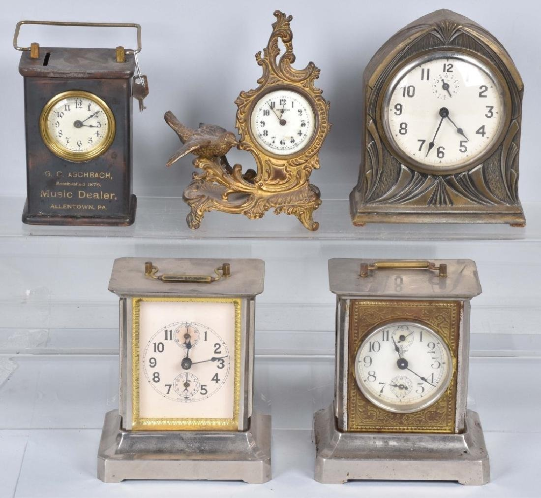 5-VINTAGE CLOCKS, 2 are BANKS