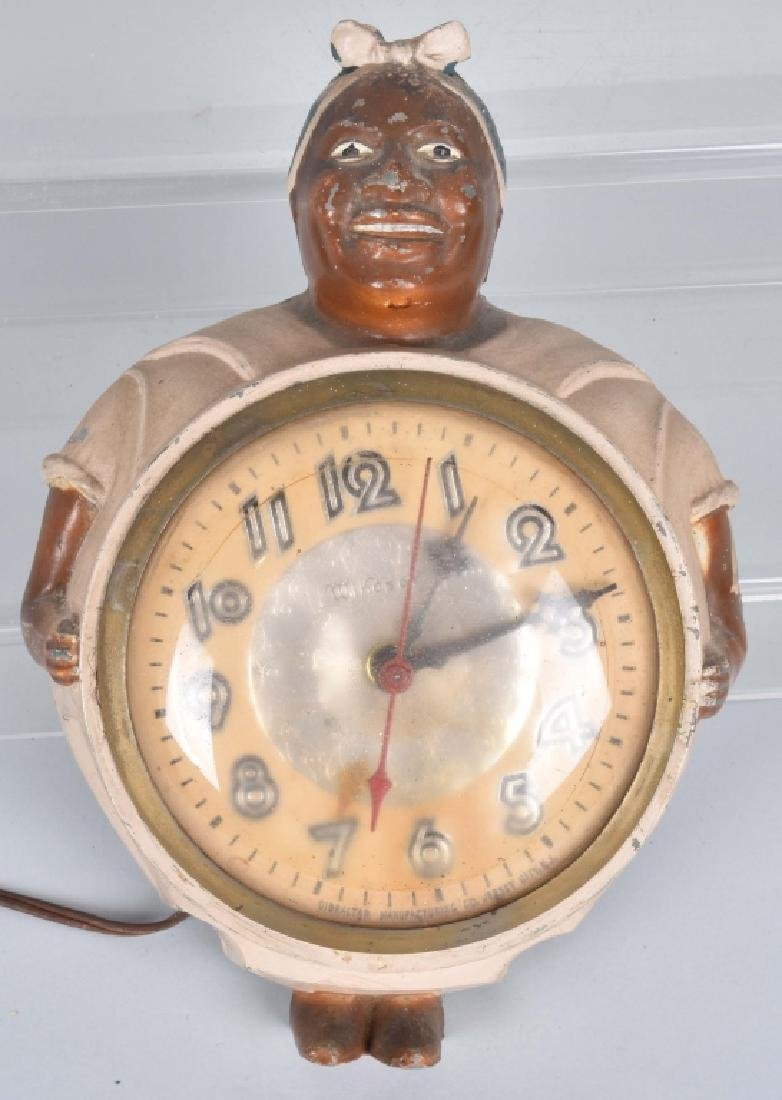 BLACK AMERICANA CAST METAL MAMMY WALL CLOCK
