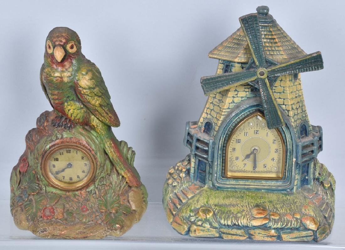 2-DELUXE CO. CLOCKS, PARROT & WINDMILL