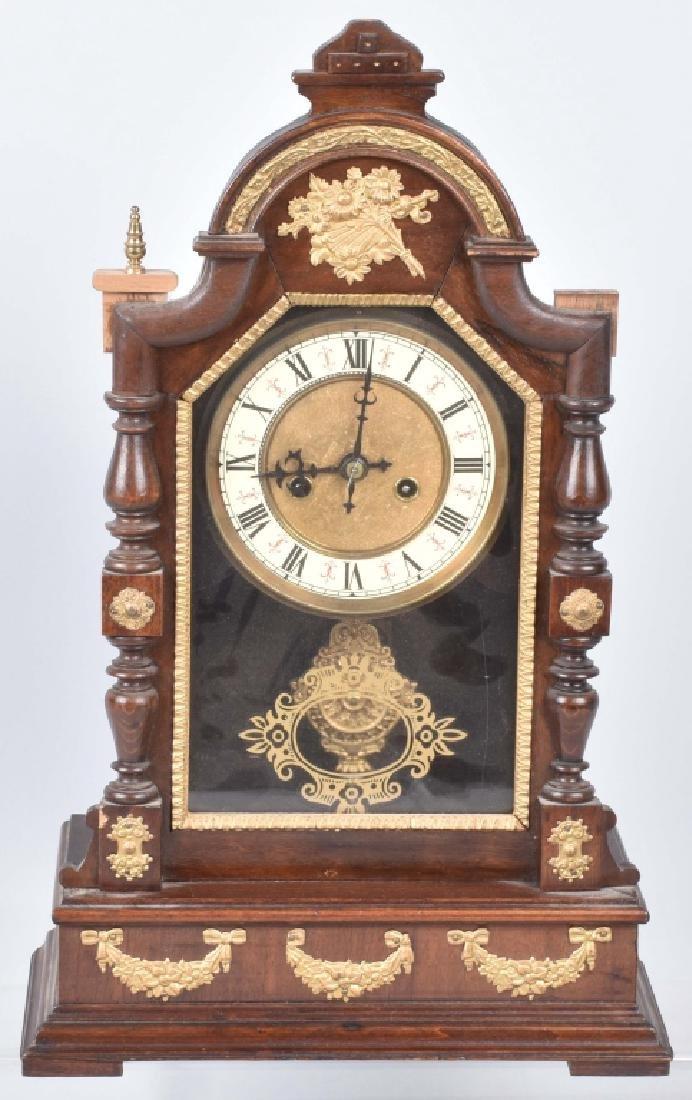 GERMAN ORNATE SHELF CLOCK, VINTAGE