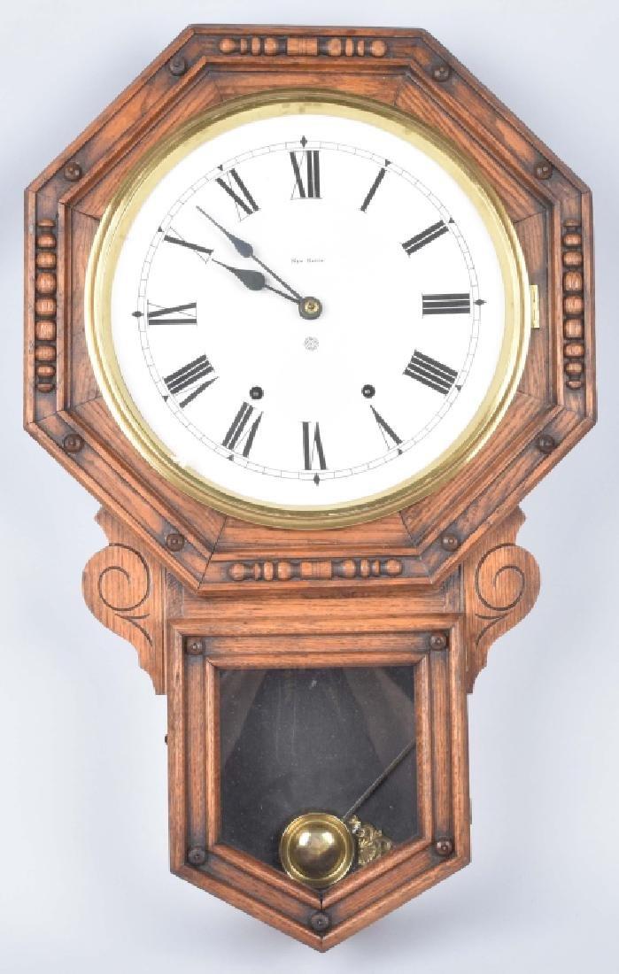 NEW HAVEN OAK WALL CLOCK VINTAGE
