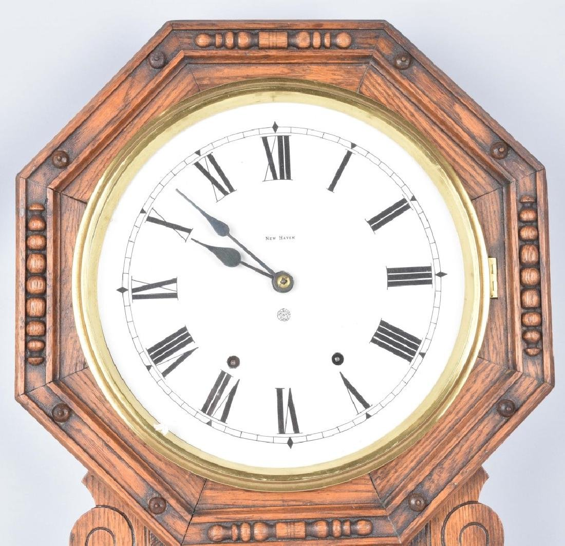 NEW HAVEN OAK WALL CLOCK VINTAGE - 2