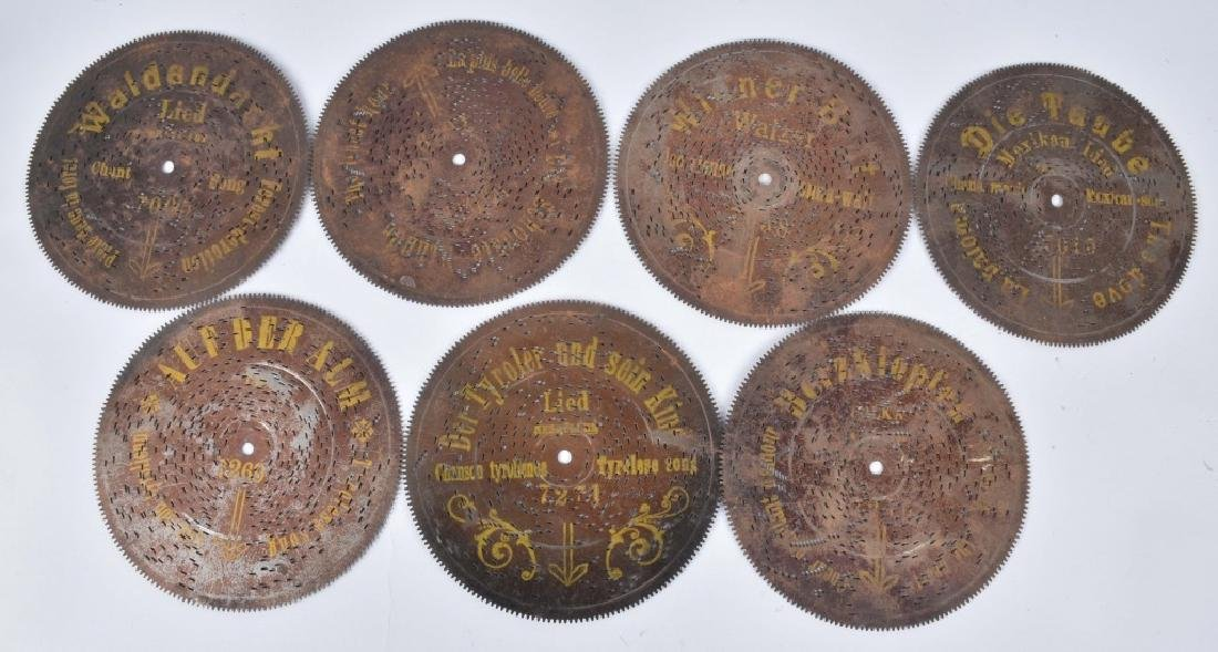 7-GERMAN METAL MUSIC BOX DISCS, VINTAGE