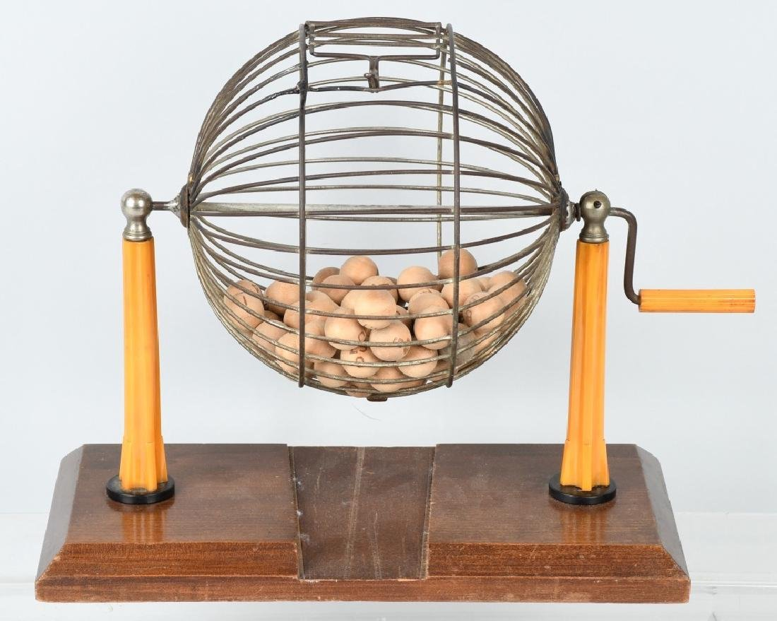 EARLY BAKELITE BINGO MACHINE CAGE & BALLS