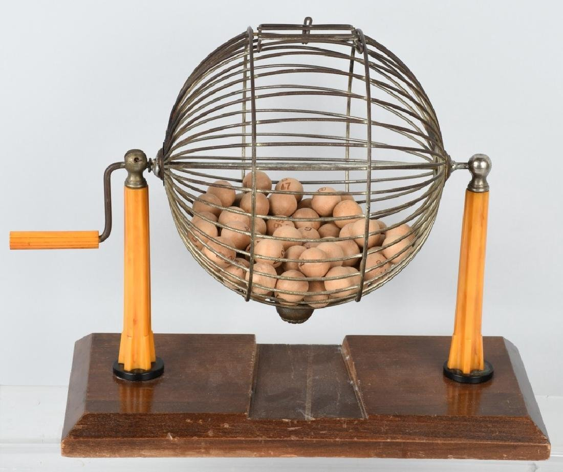 EARLY BAKELITE BINGO MACHINE CAGE & BALLS - 3