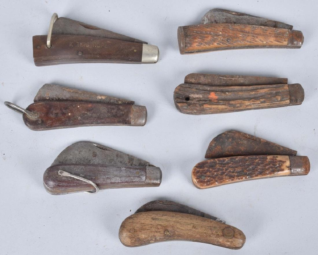 7-VINTAGE KNIVES, STAG and WOOD HANDLES