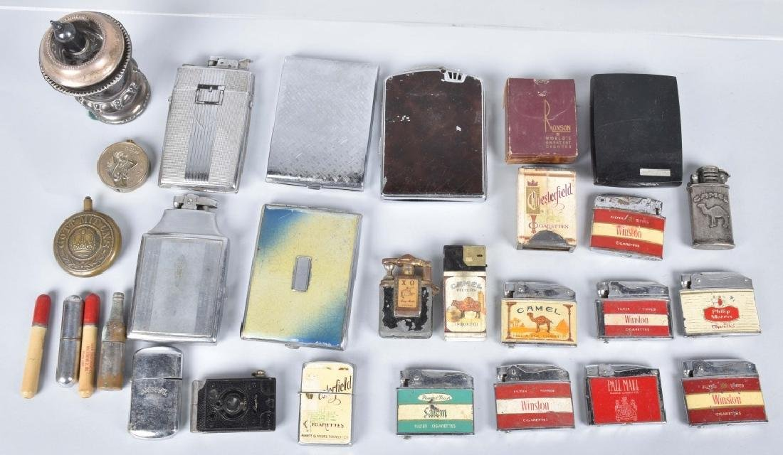 VINTAGE ADVERTISING LIGHTERS, WW1, CASES & MORE