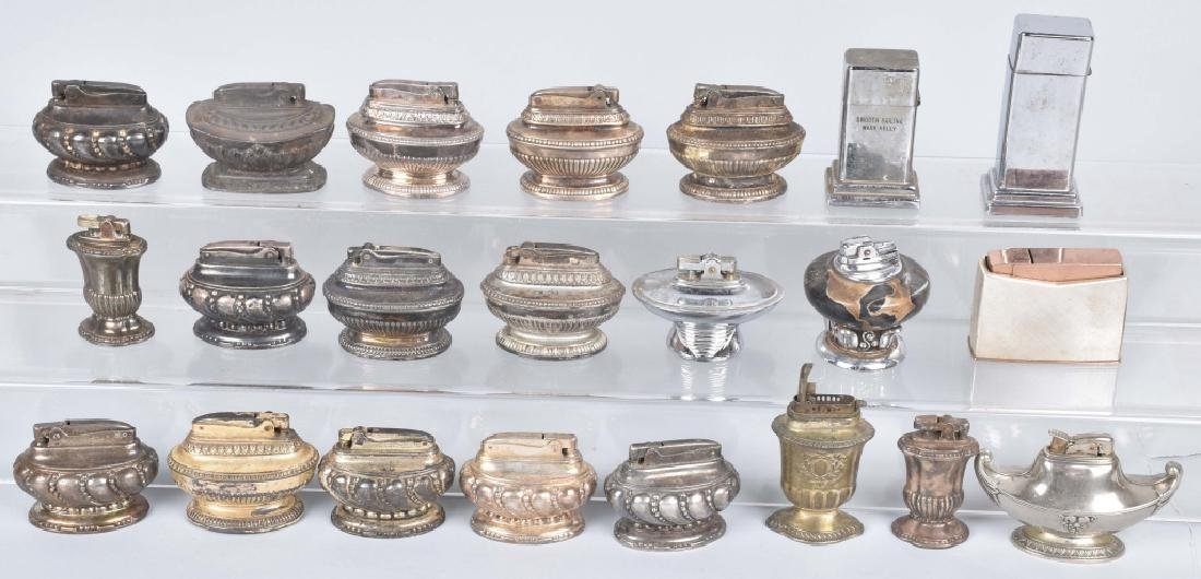 22-TABLE TOP SILVER PLATE LIGHTERS