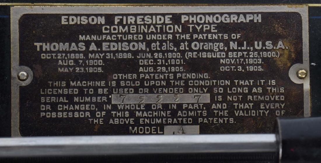 EDISON FIRESIDE CYLINDER PHONOGRAPH, VINTAGE - 6