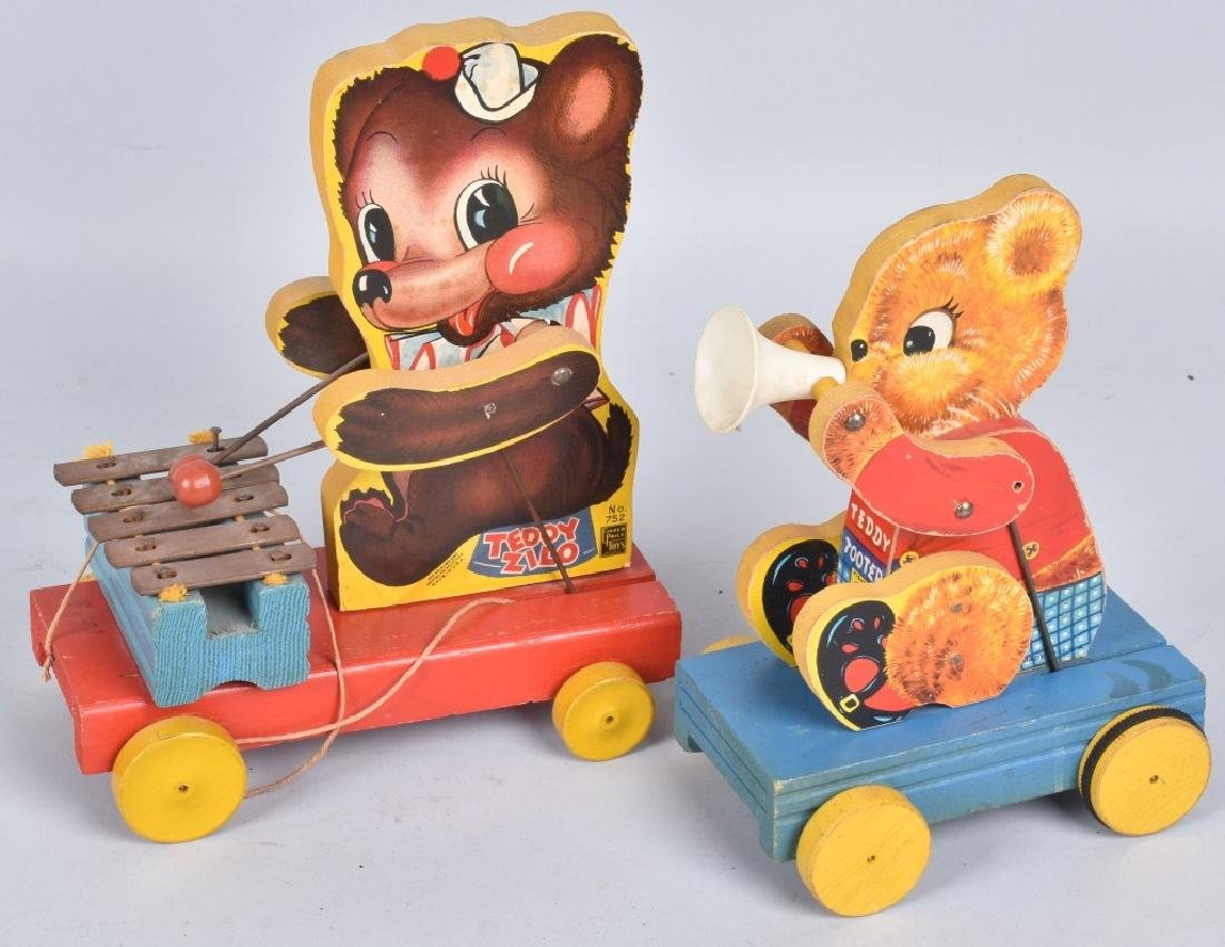 2-FISHER PRICE TEDDY BEAR TOYS, VINTAGE