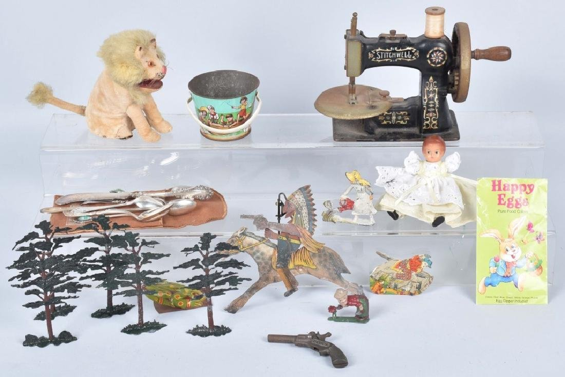 VINTAGE TOY LOT, WINDUP, SILVER and MORE