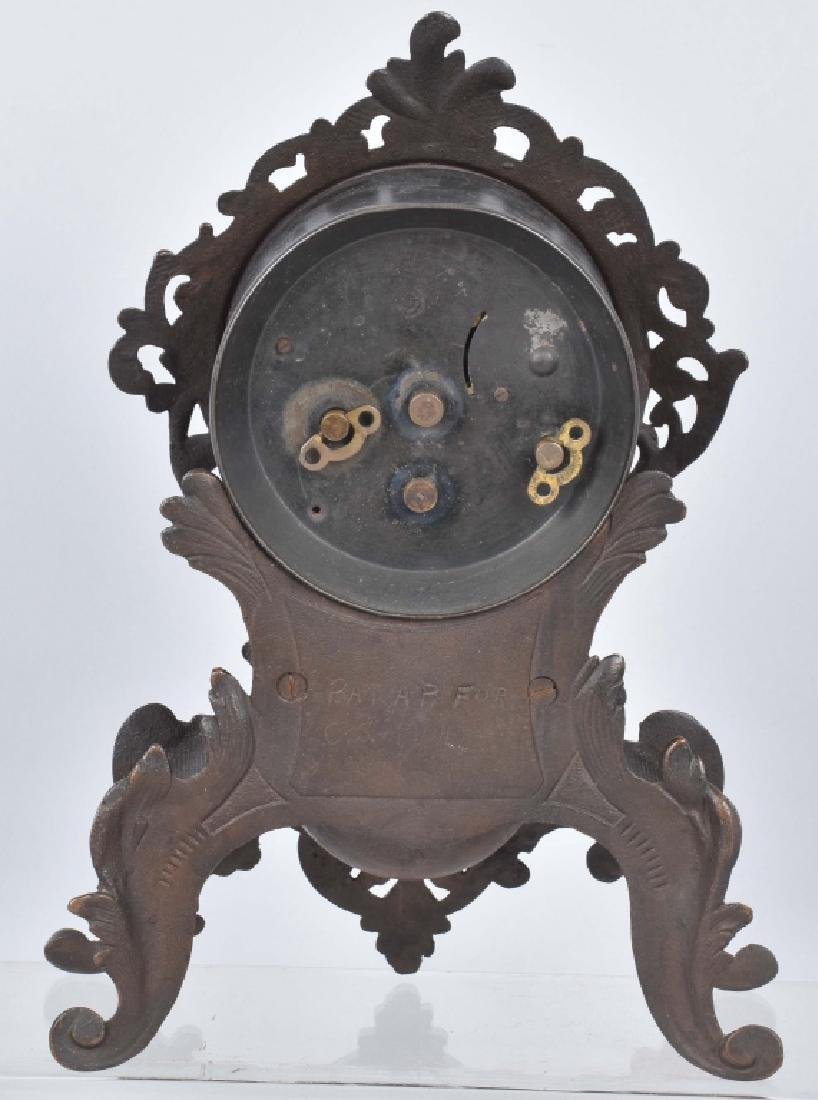 VINTAGE CAST IRON SHELF CLOCK - 4