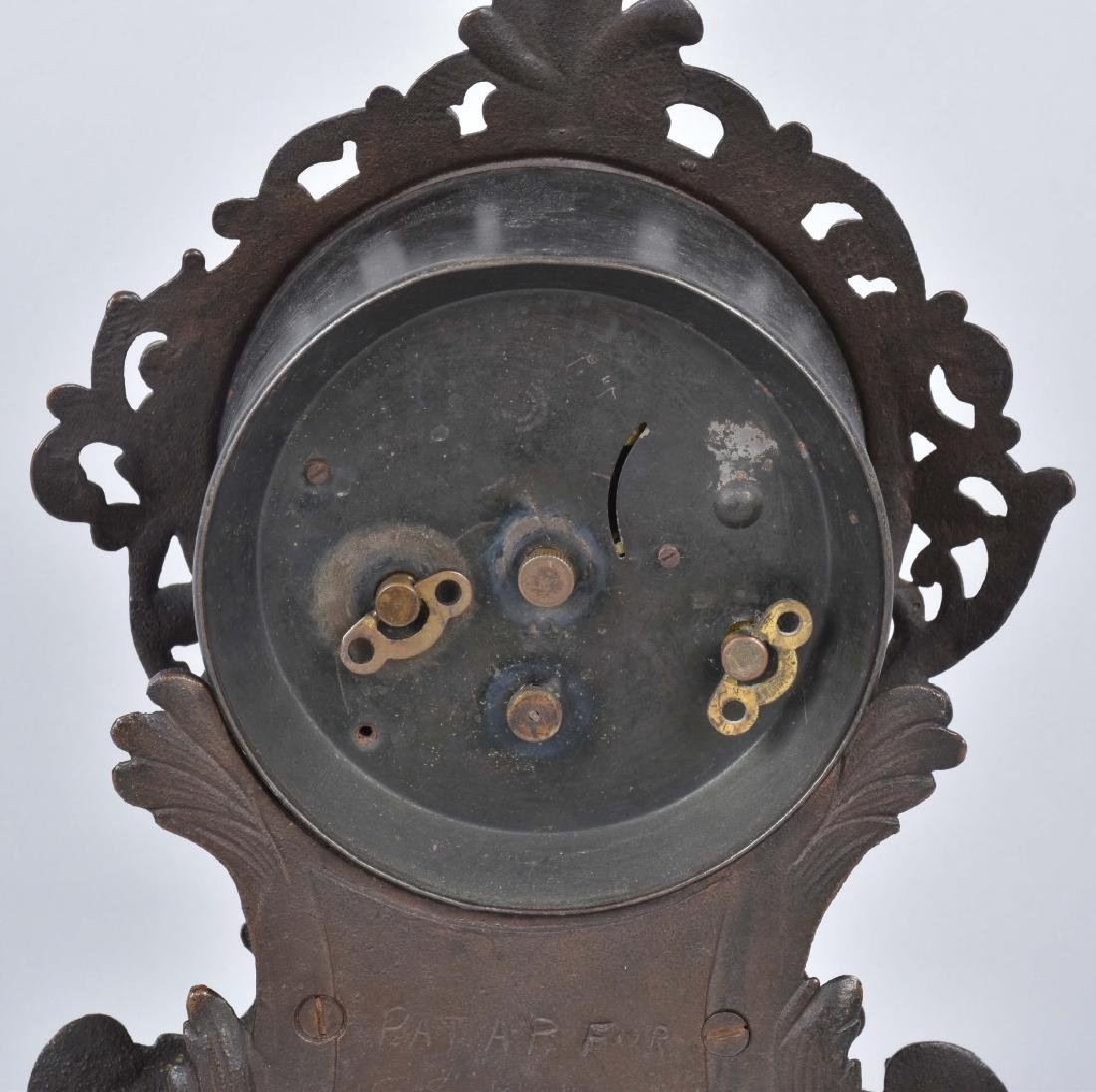 VINTAGE CAST IRON SHELF CLOCK - 5