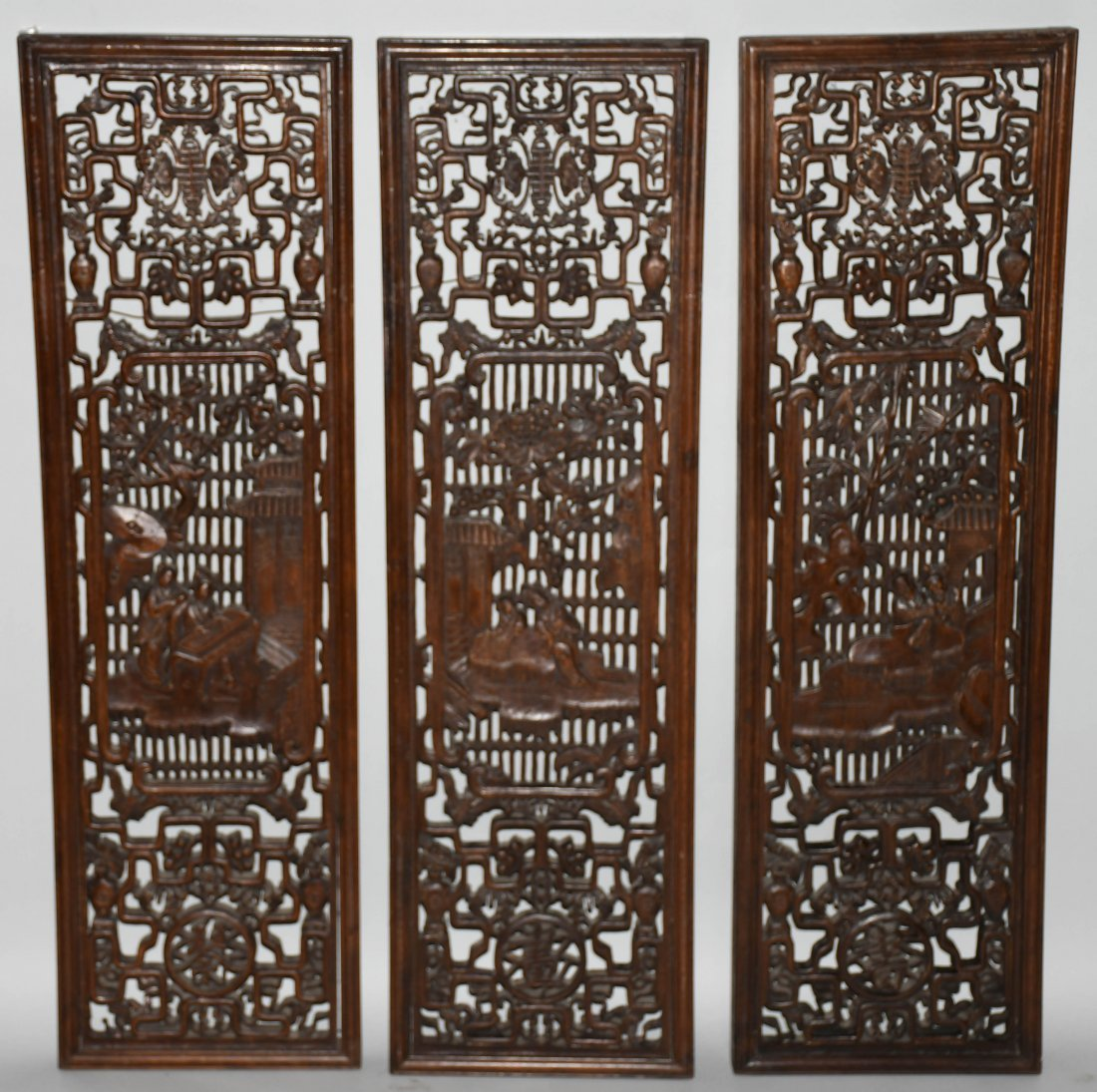 Set of 3 VINTAGE CHINESE WOOD CARVED WALL PANELS