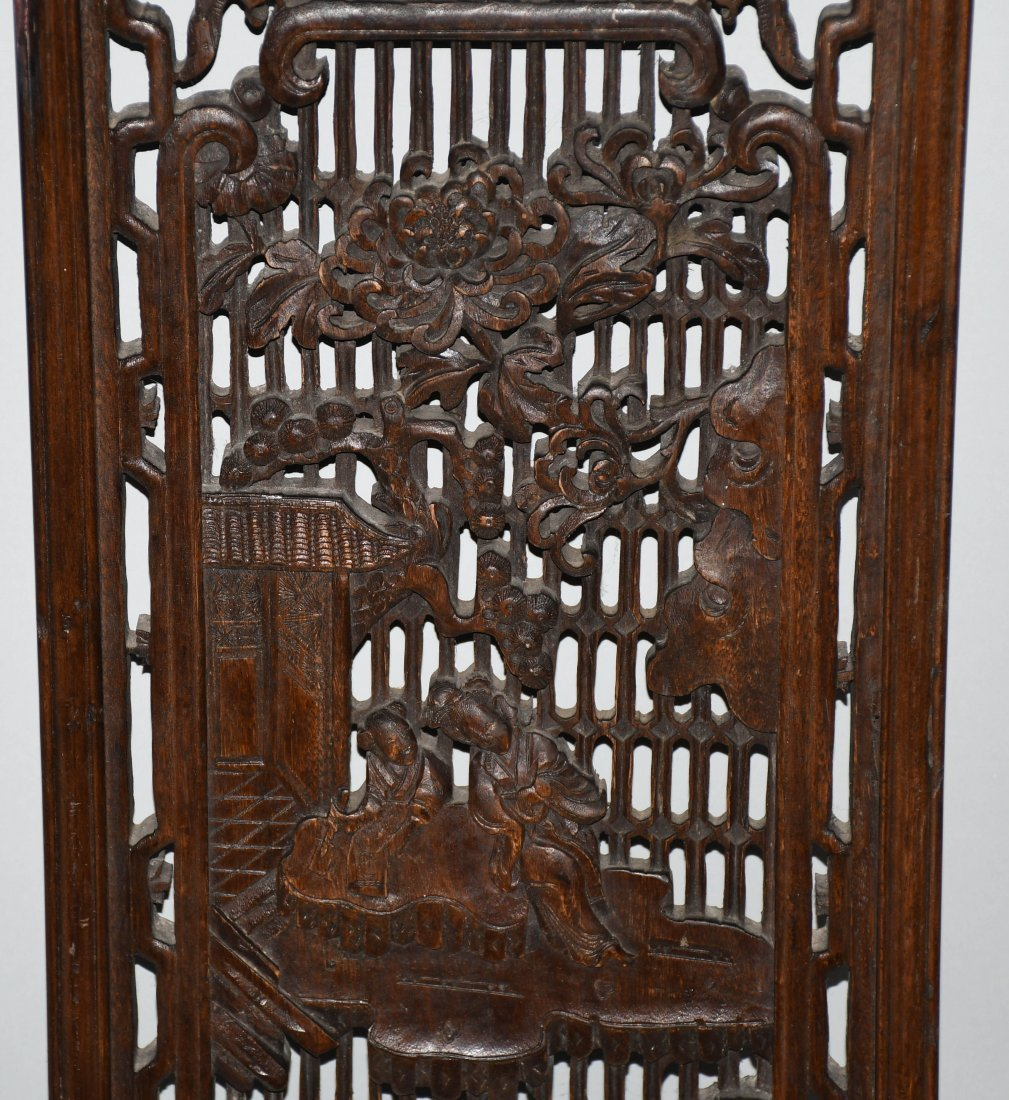 Set of 3 VINTAGE CHINESE WOOD CARVED WALL PANELS - 3